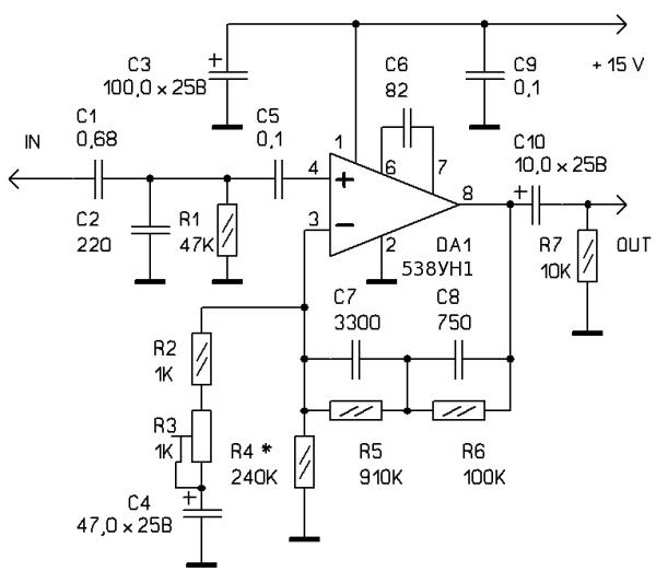 Схема усилителя-корректора на