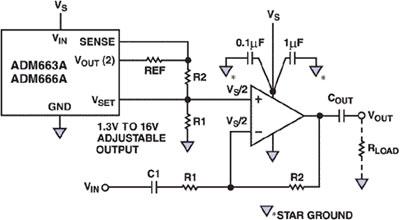 Схема формирования смещения операционного усилителя с однополярным питанием с использованием линейного регулятора...