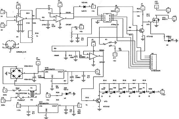 Принципиальная схема паяльника на основе микросхемы Attiny 15L.