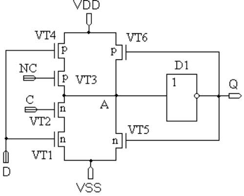 Рисунок 12.  D-триггер на основе динамических ключей (с использованием одного статического инвертора) .