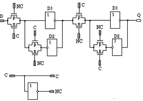 Рисунок 19.  Схема статического триггера, тактируемого фронтом с однофазной синхронизацией.
