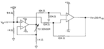 Схема включения термодатчика для дополнительной линеаризации характеристики.