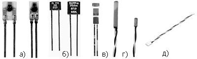 Датчики серии HEL-775 для монтажа на печатную плату (а); датчики серии HEL-776 и HEL-777 для монтажа на печатную плату (б); сверхминиатюрные датчики серии HEL-700 для SMT-монтажа (в); датчики серии HEL-700 в герметичном корпусе для погружения в исследуемые среды (г); датчик серии HRTS (д).