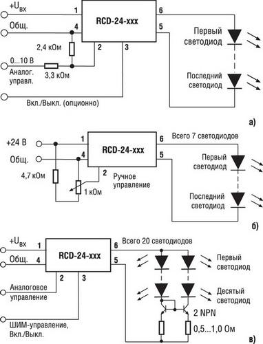 Рис. 2. Схемы подключения светодиодов к драйверу серии RCD-24 с аналоговым (а, б) или ШИМ-управлением (в) .