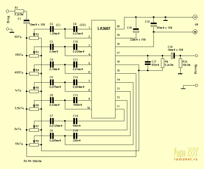 Принципиальная схема электронного эквалайзера.