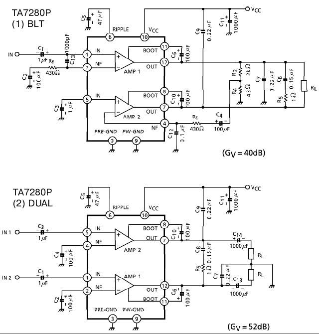 Типовые схемы включения TA7280P.