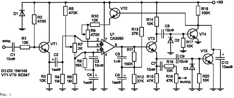 Сигнал с электрогитары через разделительный конденсатор подается на эмиттерный повторитель...