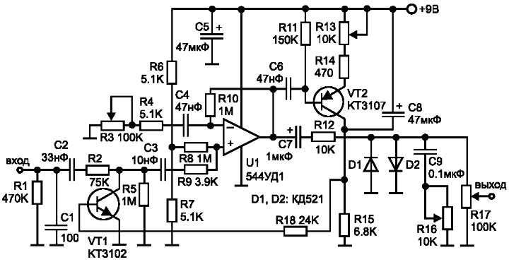 вход схемы (резистор R1).