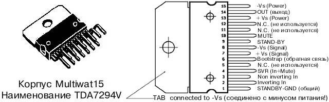 Описание:TDA7294 монолитная интегральная микросхема, изготовленная по технологии DMOS в корпусе Multiwatt15.